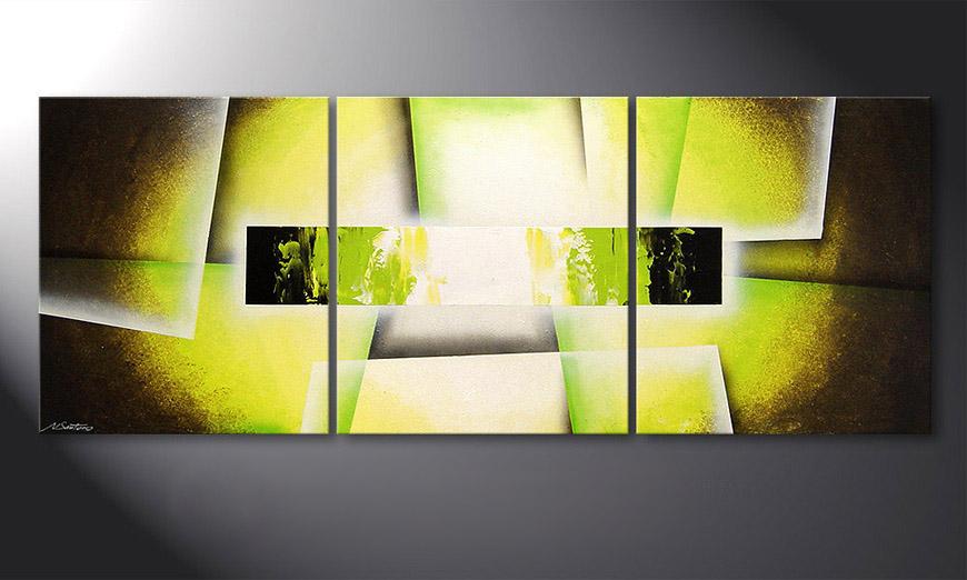 Das wohnzimmer bild broken green 180x70cm wandbilder xxl for Wohnzimmer glasbilder