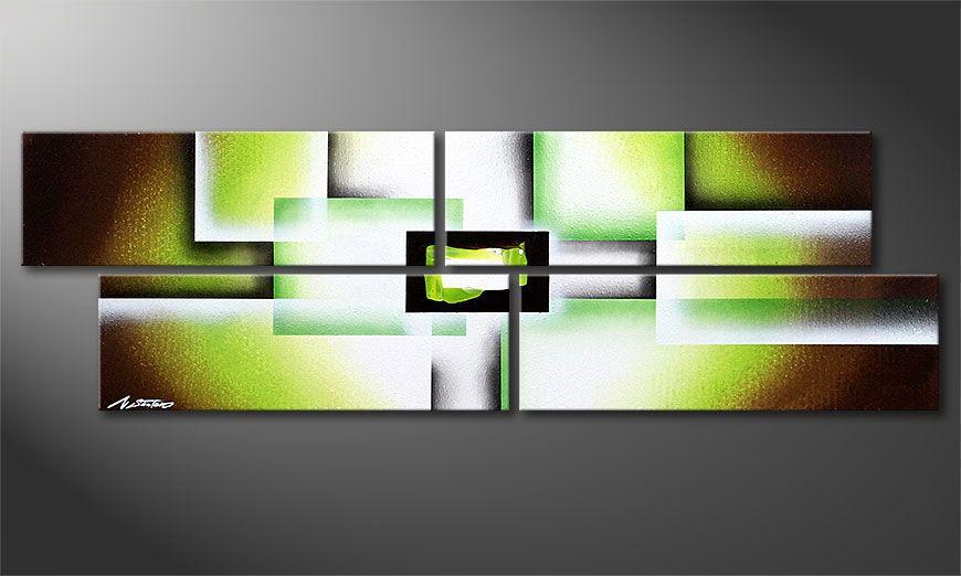 Das Keilrahmenbild Green Spirit 130x40x2cm
