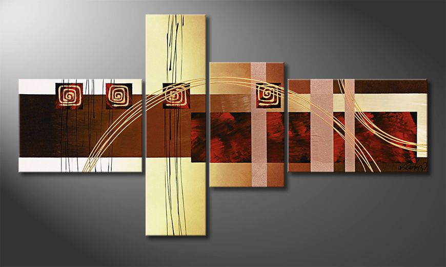 Das Leinwandbild Golden Ways 130x70x2cm