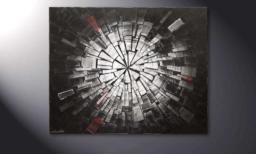 Das Wandbild Center of Light in 100x80x2cm