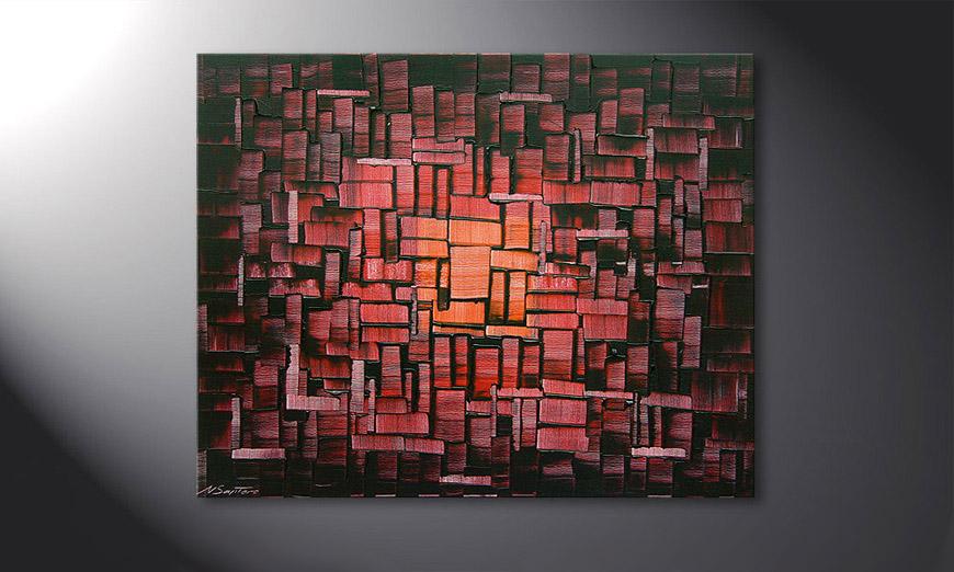 Das Wandbild Cubes of Glow in 100x80x2cm