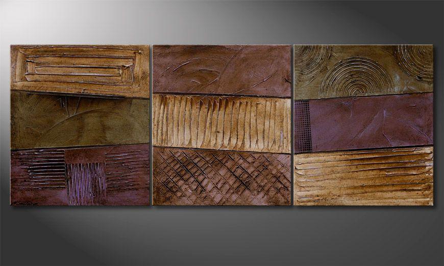 Das Wandbild Earthy Rupture 180x70x2cm