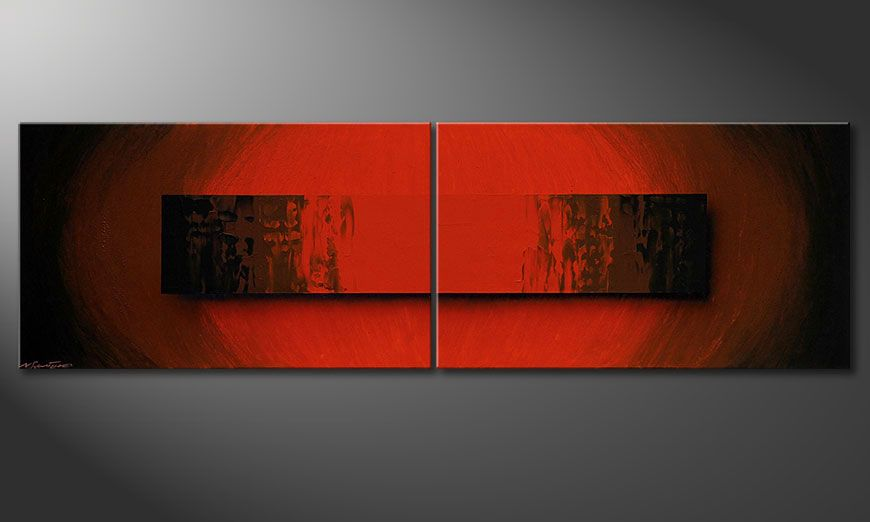 Das Wandbild Glowing Red 200x60x2cm