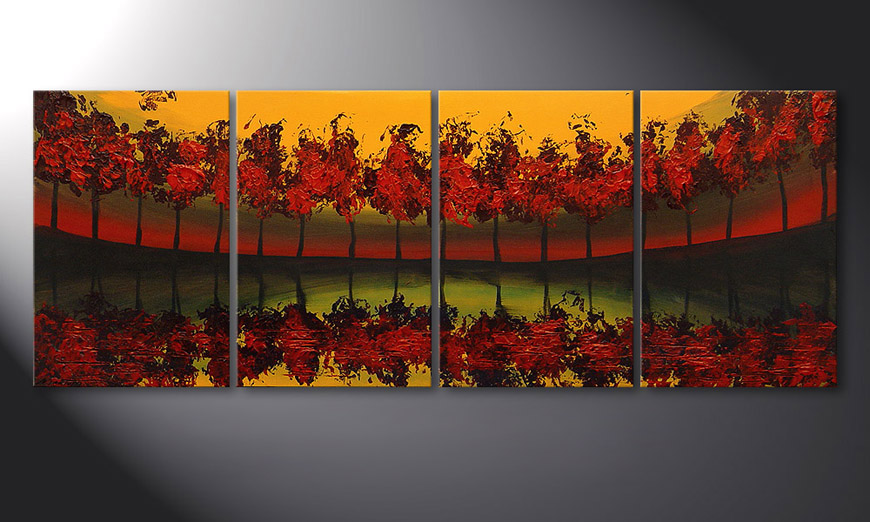 Das Wandbild Glowing Sky in 160x60x2cm