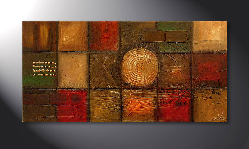 Das Wandbild Golden Center 120x60x2cm