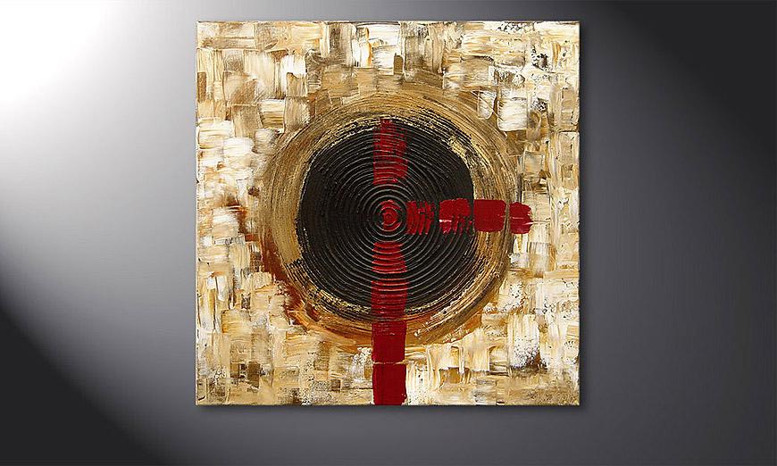 Das Wandbild Golden Times 80x80x2cm
