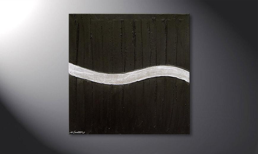 Das Wandbild Silver Wave in 80x80x2cm