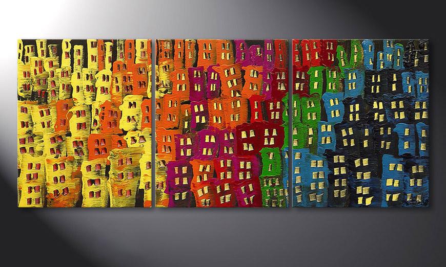 Das Wohnzimmer Bild Afterglowing City in 120x50cm - Wandbilder XXL