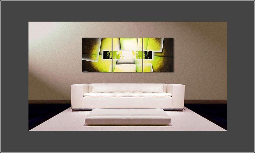 Das Wohnzimmer Bild Broken Green 180x70cm - Wandbilder XXL