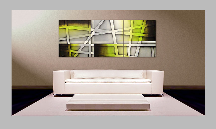 das wohnzimmer bild vivid green 180x70cm wandbilder xxl. Black Bedroom Furniture Sets. Home Design Ideas