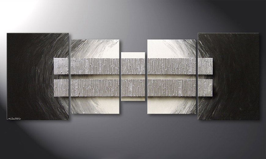 Das Wohnzimmerbild Silver Blocs 200x70x2cm