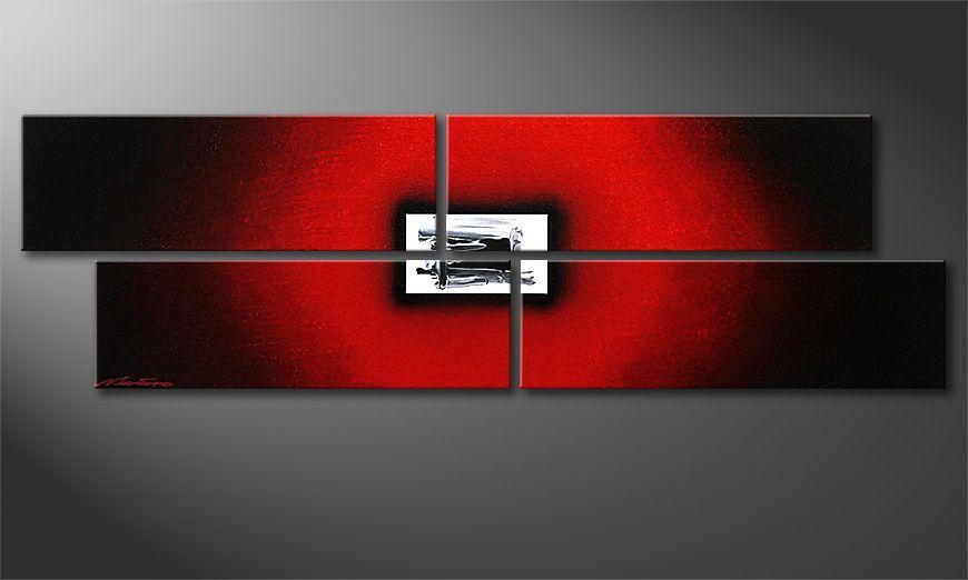 Das handgemalte Acrylbild Lost Red 130x40x2cm