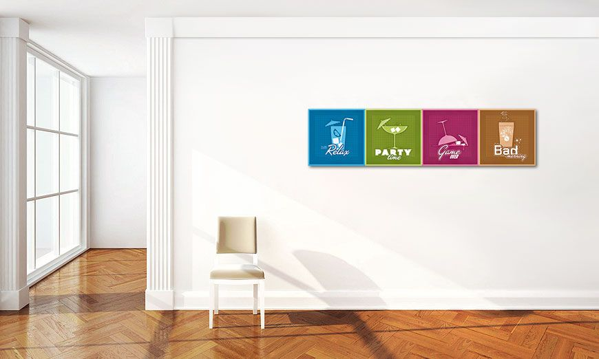 Das moderne Bild All the Drinks in 160x40cm