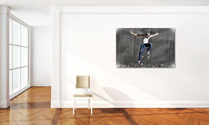das stylische leinwandbild skate 120x80cm wandbilder xxl. Black Bedroom Furniture Sets. Home Design Ideas
