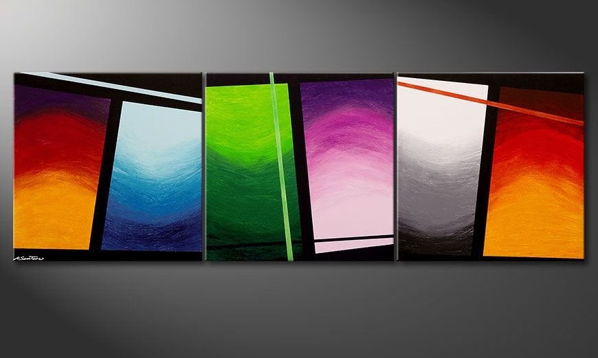 Wandbild im Großformat Wave of Colors 240x80x2cm