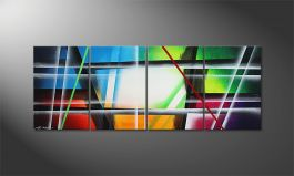 Das Leinwandbild 'Colorful Pieces' 240x90cm