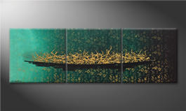 Das Leinwandbild 'Golden Secret' 180x60cm