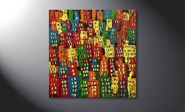 Das Wandbild 'Colorful City' 80x80cm