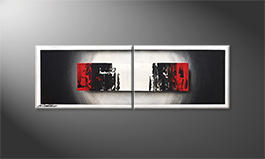 Das Wandbild 'Glowing Black' 120x40cm