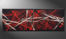 Das moderne Bild 'Red Night' 160x60cm
