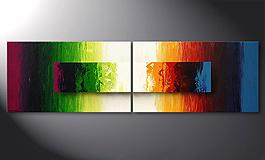 Das moderne Wandbild 'Battle of Colours' 200x60cm