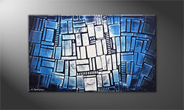 Das moderne Wandbild 'Blue Windows' 100x60cm