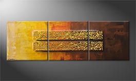 Handgemalt: 'Golden Afterglow' 210x70cm
