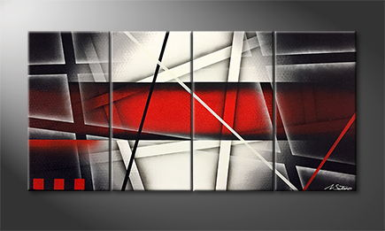 Handgemalt: 'Red Labyrinth' 120x60cm