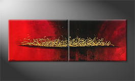 Von Hand gemalt: 'Glowing Gold' 200x70cm