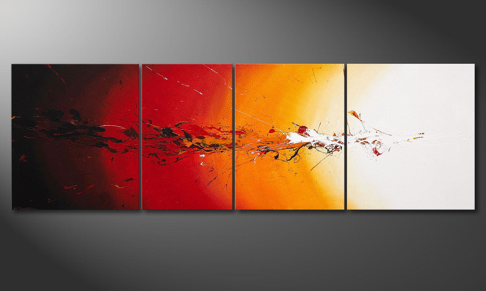 das keilrahmen bild fiery splash 250x80cm wandbilder xxl. Black Bedroom Furniture Sets. Home Design Ideas