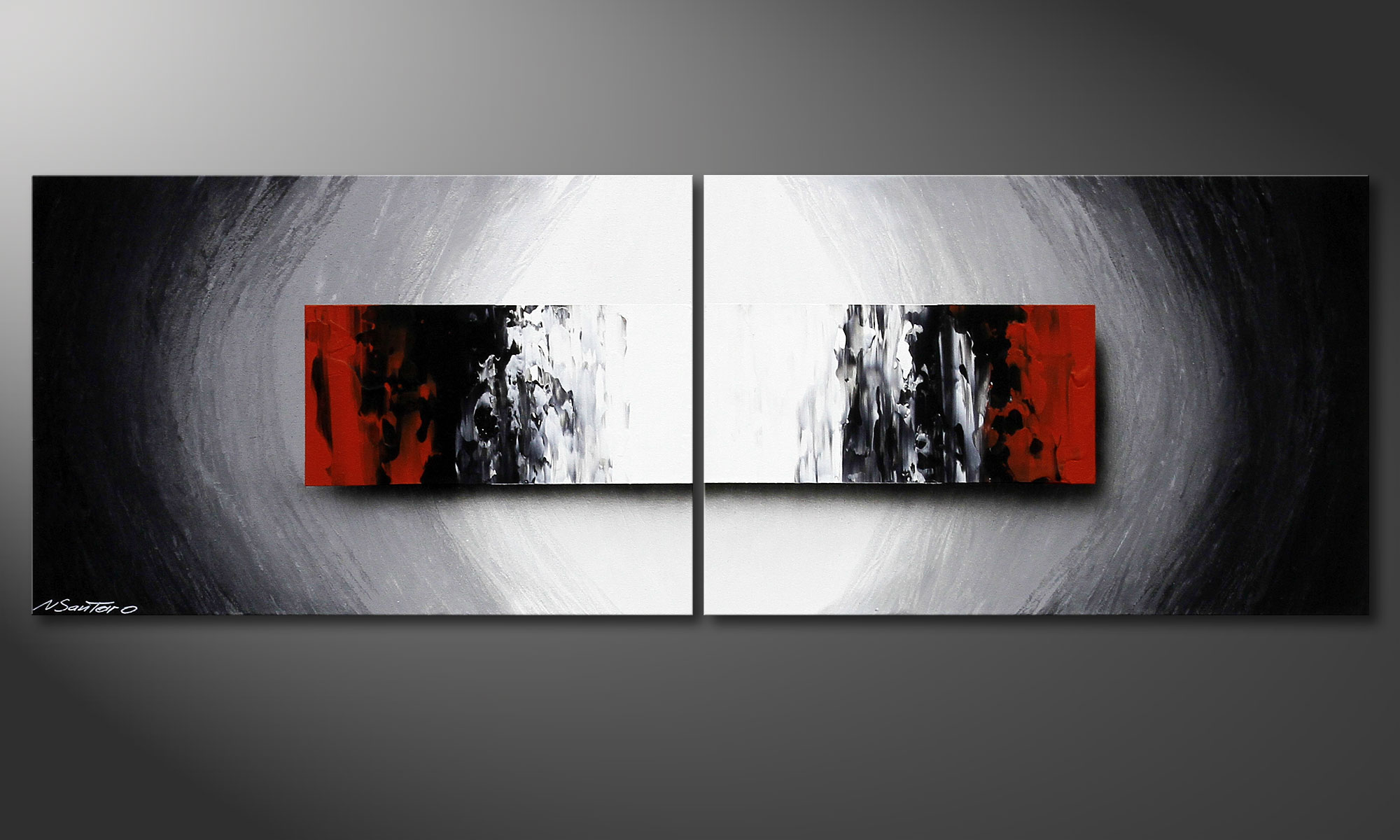 Das handgemalte acrylbild deep space 120x40cm wandbilder xxl - Wandbilder grau weiss ...