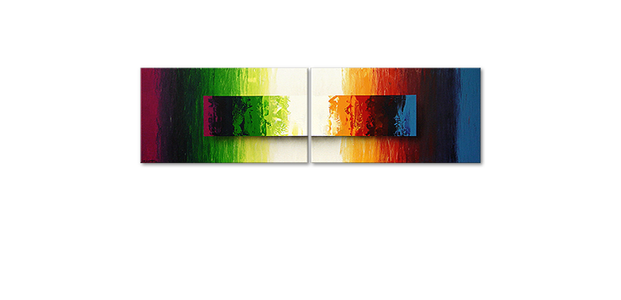 Das moderne Wandbild Battle of Colours 200x60cm