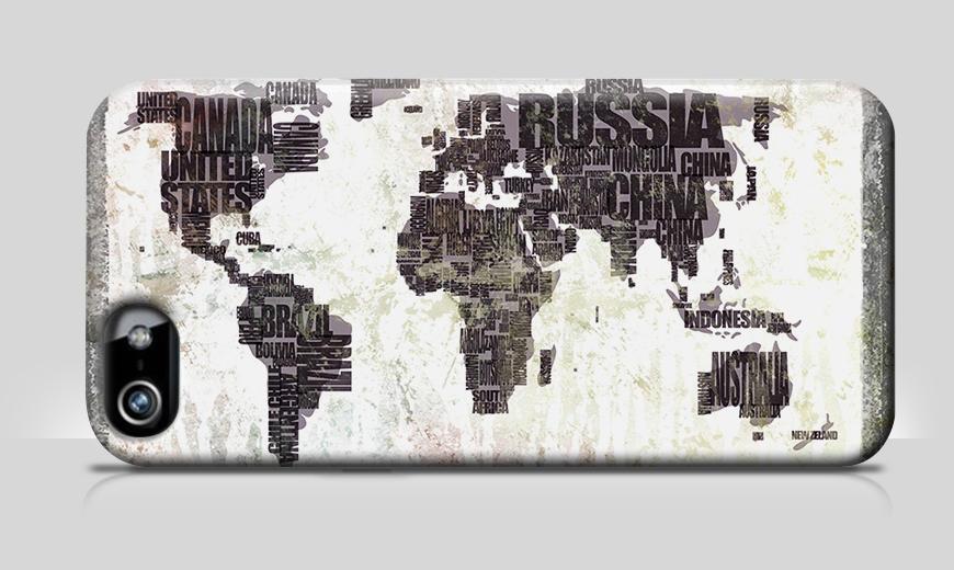 Nur bei uns: Handyhülle Weltkarte Nr. 17