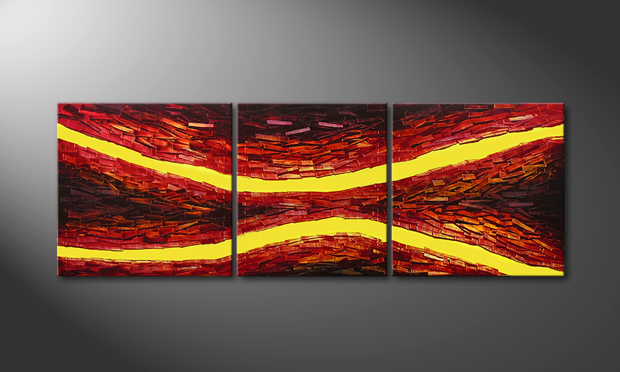 Das Wandbild Lava Splits in 200x70x2cm