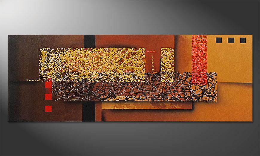 Das Wandbild Liquid Gold in 150x55x2cm