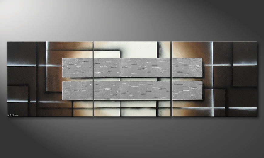 Das Wandbild Shine of Silver in 260x80x2cm