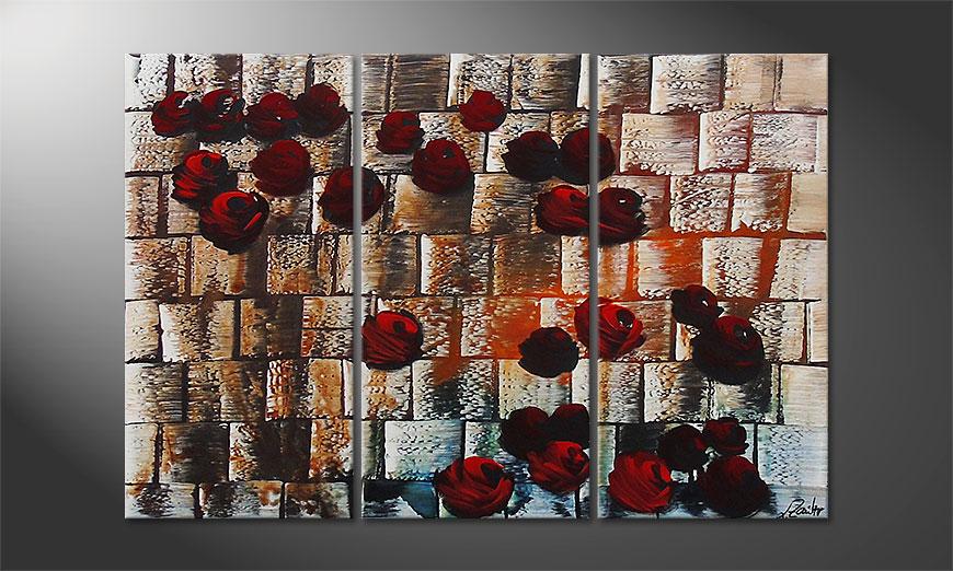Das Wandbild Storm of Roses 120x80x2cm