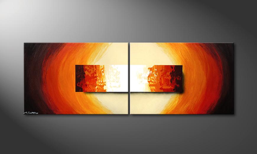 Das Wohnzimmerbild Aboil Fire 200x70x2cm