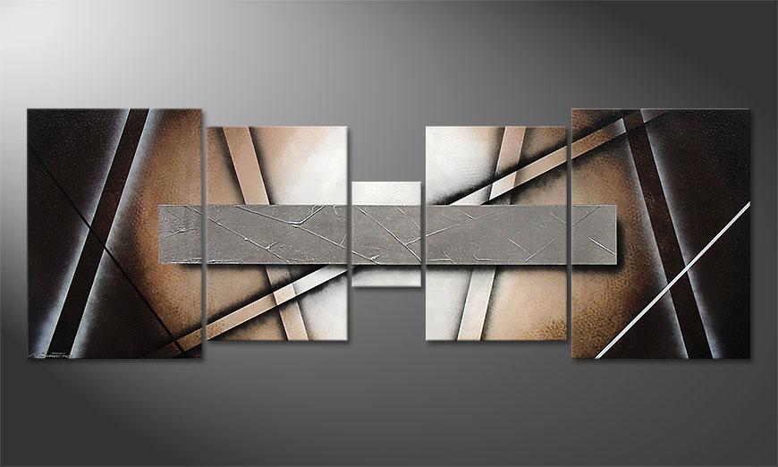Das Wohnzimmerbild Silver Mirror 200x70x2cm
