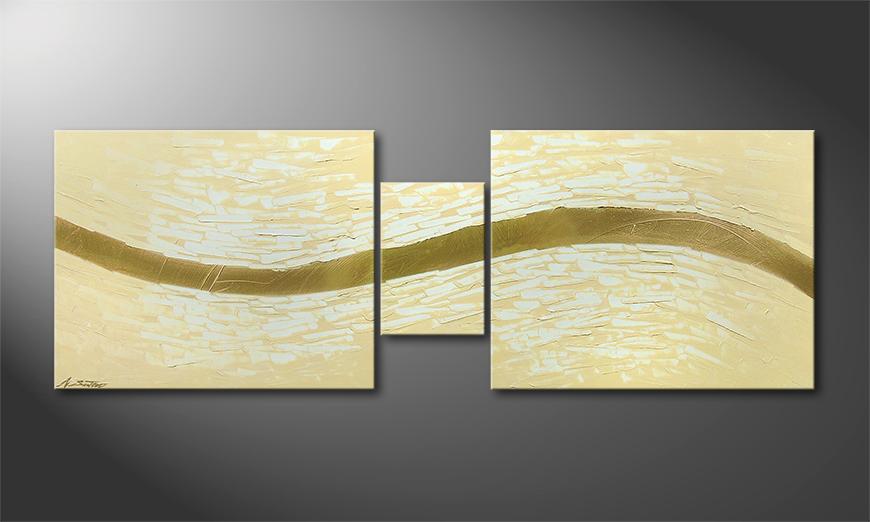 Das moderne Wandbild Golden Stream 140x50x2cm