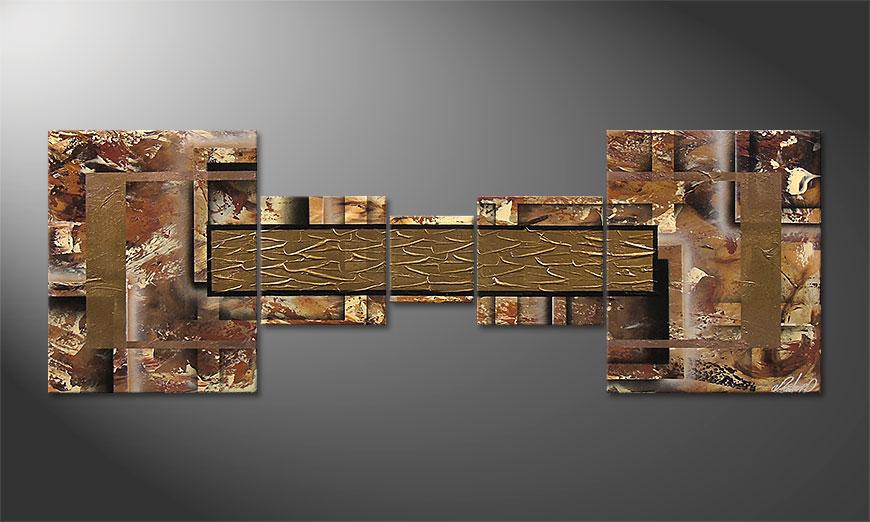 Das moderne Wandbild Golden Treasure 180x60x2cm