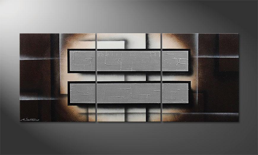 Das moderne Wandbild Silver Mirrors 170x70x2cm