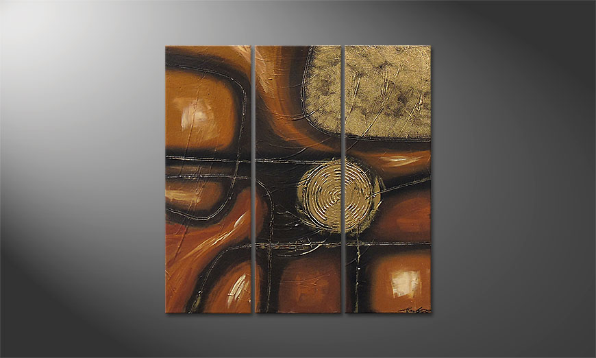 Golden Trails 90x90x2cm Wandbild
