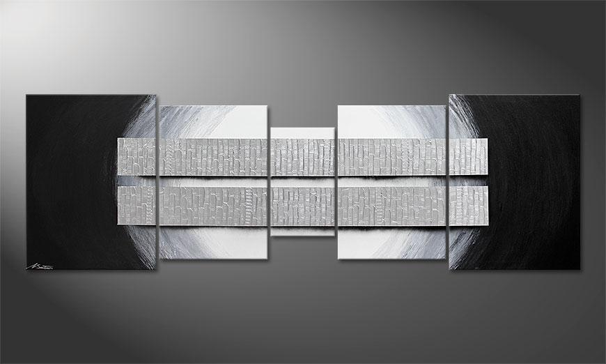 Unser XXL Wandbild Blocs of Silver in 250x80x2cm
