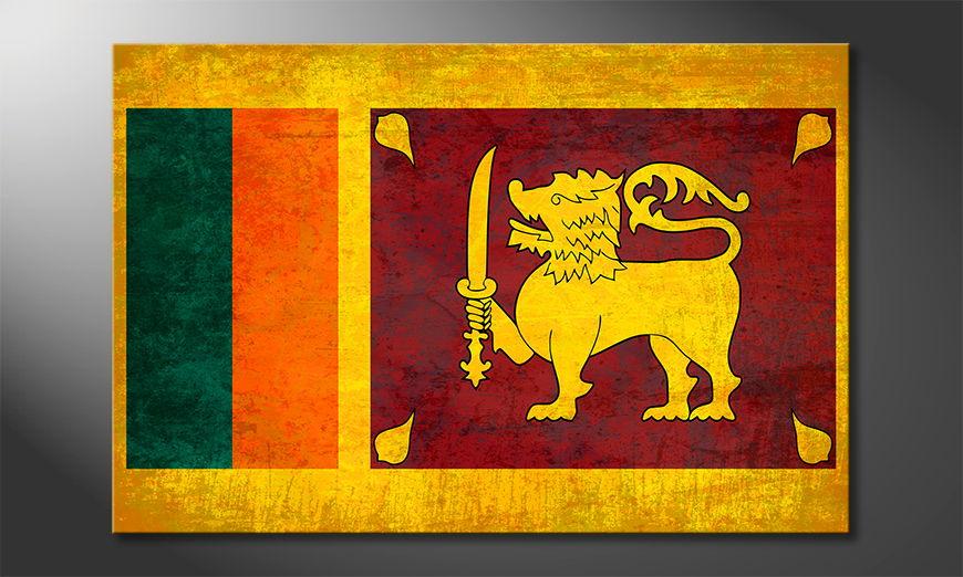 Auf Leinwand gedruckte Flagge Sri Lanka