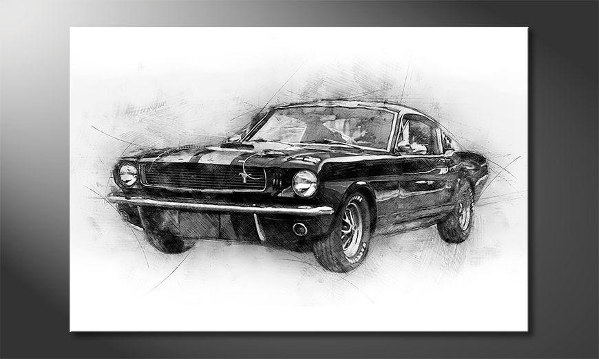 Das Leinwandbild Black Mustang