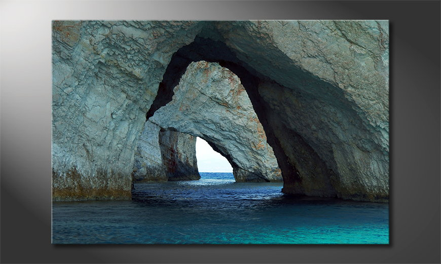 Das Leinwandbild Blue Caves