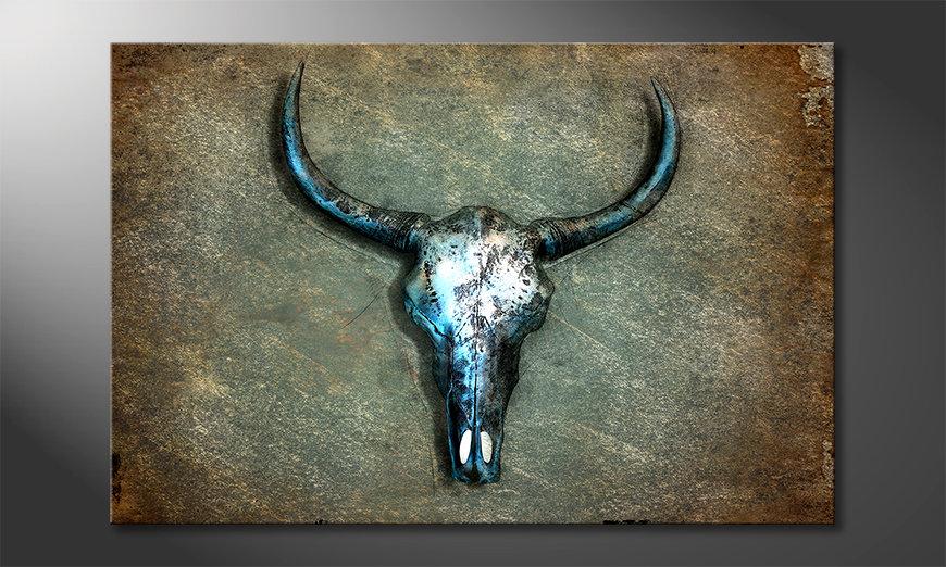Das Leinwandbild Buffalo Skull