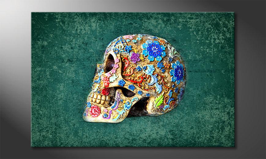 Das Leinwandbild Colorful Skull