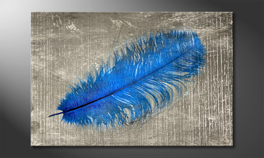 Das-Leinwandbild-Feather-In-Blue
